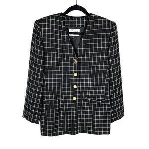 Le Suit Petite Windowpane 4 Button Blazer Jacket